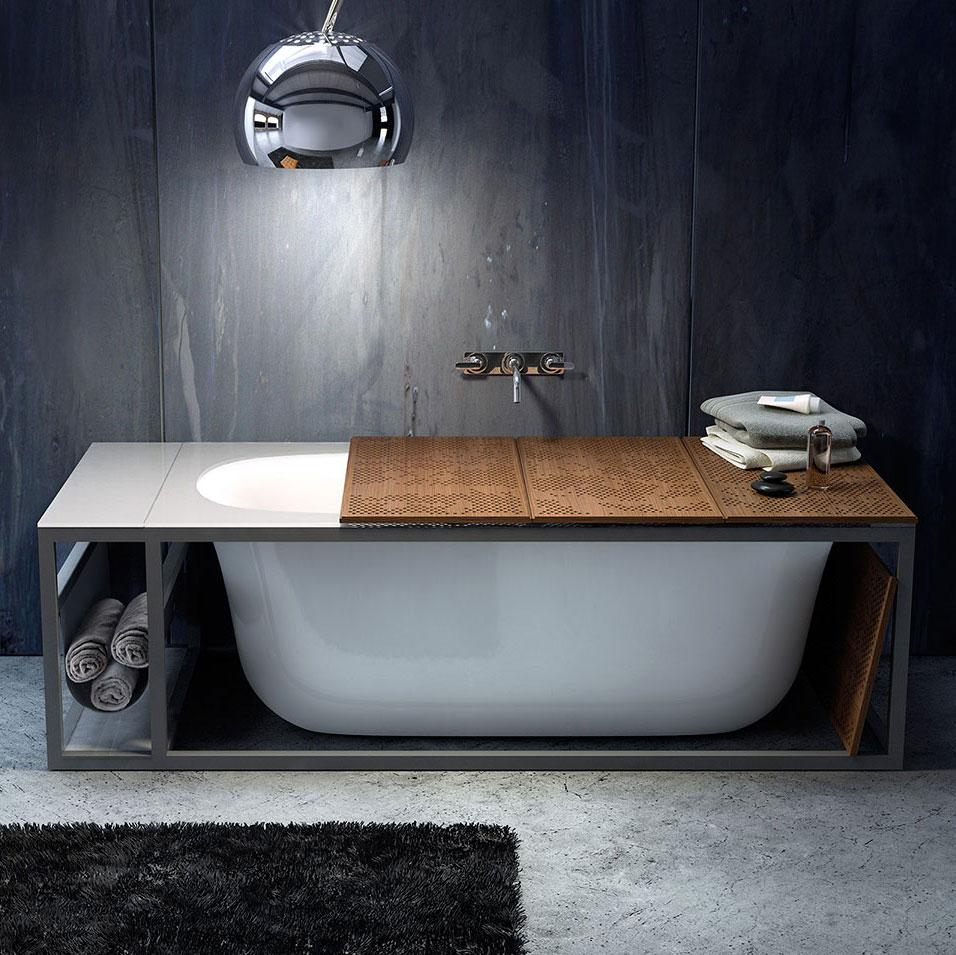 Naked vasca con struttura a vista e top in cristallo - Ablage badewanne ...